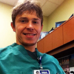 Dr Scott McLeod, PharmD - Hospital setting in scrubs