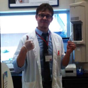 Doctor Scott preparing to administer a flu vaccination