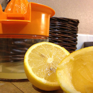 Making fresh squeezed lemon juice in advance and combining with maple syrup