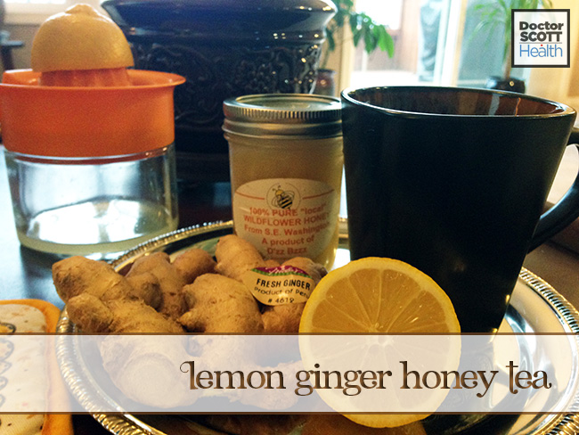 All the ingredients to make honey lemon ginger tea